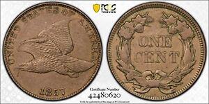 1857 Flying Eagle Cent Snow 8 Rev Clash 25c Quarter Eagle PCGS AU 55