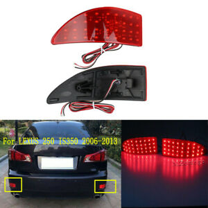 For 2006-2013 Lexus IS250 IS350 Red Lens LED Rear Bumper Brake Light Lamps Tail