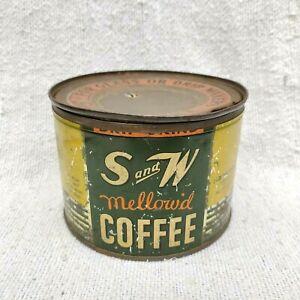 1940s Vintage S & W Mellow'd Coffee Advertising Litho Tin Box Round USA
