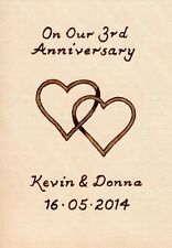 Personalised 3rd Wedding Anniversary ACEO Size Leather Entwined Hearts Design