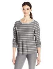 Royal Robbins Women/'s  Crew Sweater Gray Striped Linen silk Blend ab Medium