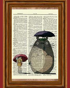 My Neighbor Totoro Dictionary Art Print Poster Picture Anime Ghibli Umbrella