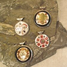 Lot of 4 Tibetan Nepal OM Ganesha Eyes of Buddha Handmade Unisex Resin Pendants