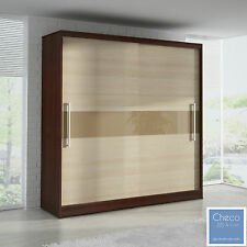 MODERN SLIDING DOOR BEDROOM WARDROBE 6ft8inch(204cm) ASH & CAMBRIDGE OAK