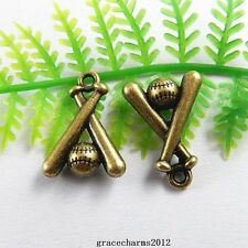38pcs/lot Antique Bronze Tone Alloy Baseball Bat Pendant Charms Findings 51229