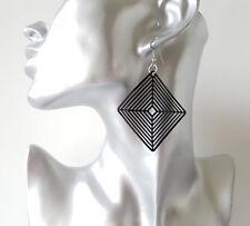 5.5cm long black diamond geometric shaped lightweight drop earrings