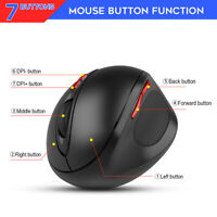 HXSJ 2.4G Wireless Prevention Ergonomic Black Vertical Mouse Mice for PC Laptop