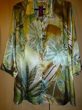 BNWT ELVI 3/4 SLEEVE TUNIC COLLARED BLOUSE GREEN MIX SATIN SHEEN EFFECT SIZE 22