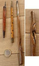 3 porte plume porte-mine en bois sculpté ancien
