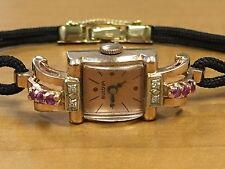 Vintage BULOVA 14K Rose Gold watch with Diamond / Ruby