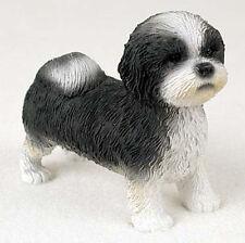 Shih Tzu Figurine Hand Painted Collectible Statue Black/White Puppy