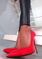 LUXURY 1969 ITALY HOHE LEDER PUMPS ROT LACK Z61 LEATHER ANOUK HIGH HEELS 35-45
