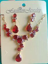 Fashion leaf Teardrop Cubic Zirconia gold Jewelry Sets Earrings Pendant Necklace