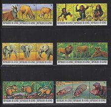 GUINEA - 752 - 757- TRIPTYCHS - MLH - 1977 - ENDANGERED ANIMALS