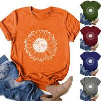 Women's Short Sleeve Sunflower Print Summer Casual Loose T-Shirt Tops Blouse UK