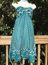 New_Boho Tiered Cotton Strapless Dress_Blue/Turqoise/White Print_Sizes S/M, M/L