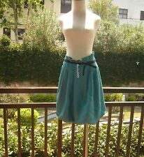 CHLOE Bubble & Bell Turquoise & Copper Woven Tweed Linen Skirt!F36/S