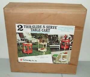 NEW NOS! Vtg CARLISLE 2-Tier GLIDE & SERVE Rolling TABLE CART Mid Century Modern