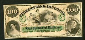 US 1857  $100 CITIZENS BANK OF LOUISIANA NEW ORLEANS OBSOLETE UNC.