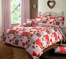 Polka Heart Rose Patchwork Red King Size Cotton Blend Duvet Comforter Cover