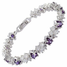 Wedding Gift Cubic Zirconia 18K White Gold Gp Purple Amethyst Tennis Bracelet
