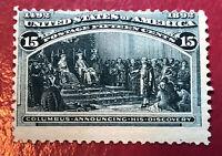 US SCOTT Cat # 238 MH OG 15c Columbian Stamp CV $200 FREE SHIPPING Poor Center