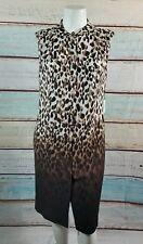 CALVIN KLEIN Brown Biege Ombre Animal Leopard Print  Shift Shirtdress Size 18W