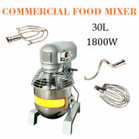 30Qt Commercial Dough Food Mixer Gear Driven Bakery Blender Kitchen 3Speed 2.4HP