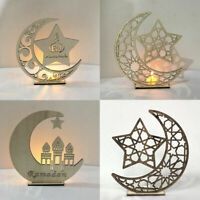 Wooden LED Eid Mubarak Plaque Moon Star Ramadan Ornament Muslim Decor Pendant~