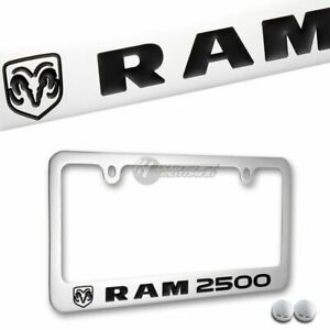 DODGE RAM 2500 Chrome Plated Brass License Plate Frame with Chrome Cap AUTHENTIC