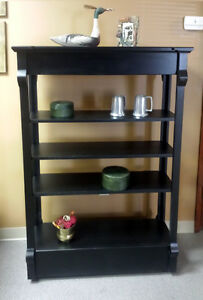 Pine Etagere or Display unit,  antique black finish, 3 Adj shelves,  MADE IN USA