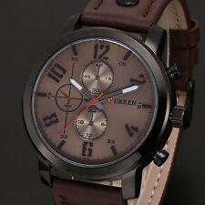 CURREN Men's Sport Brown Leather Alloy Case Fashion Analog Quartz Wrist Watch