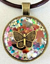 ORGONE ENERGY Cabochon Pendant Golden Butterfly & Mixed Gemstones. MADE IN USA