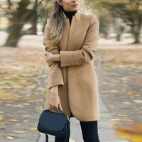 Women Outwear Winter Warm Wool Lapel Trench Parka Coat Jacket Long Slim Overcoat