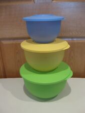 TUPPERWARE 3 pastel colors Impressions bowls w/matching lids 5.5, 10, 18 cups