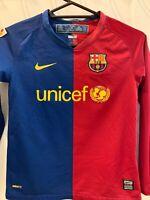 NIKE BARCELONA 2008/09 HOME FOOTBALL SOCCER JERSEY KID'S SMALL 8-10 Long Sleeve