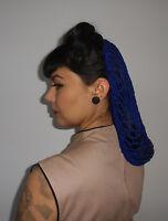 Filet cheveux snood pinup retro vintage crochet bleu roi coiffure années 40/50's