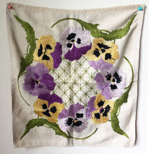 Vintage Floral Hand Embroidered Fabric Panel 20 x 18 Inch • Hand Sewn Craft OOAK