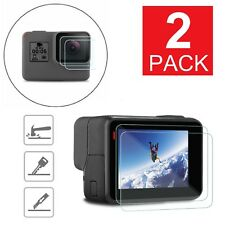 2-Pack For GoPro Hero 6 5 Black Clear Tempered Glass Screen + Lens Protector