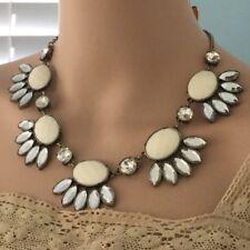 Pretty Women's Crystal Choker White Bib Necklace w/ Anthropologie Flair