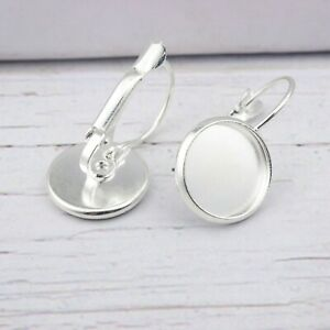 6X Silver Plated 12-20 Blank Cabochon Earring Base Settings Diy Clip On Earring