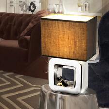 Design Tisch Leuchte braun Keramik Würfel Wohn Arbeits Zimmer Textil Lampe chrom