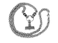 Mjolnir Thor's Hammer Pewter Pendant with LONG 70cms Viking Dragon Head Chain