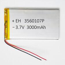 """3.7V 3000mAh 3560107 Li Po Polymer cell Battery For Tablet 9"""" PDA DVD power bank"""