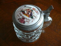 über 50 Jahre alter Bierkrug Glas Krug  mit Zinndeckel Klappschanier
