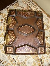 Antique Victorian Era Leather Photo Album~ 20 Tin Type Or Cdv~ Cart De Vista
