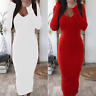 Women Ladies Long Sleeve V-Neck Stretch Bodycon Ribbed Knit Pencil Midi Dress