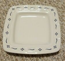 Longaberger Set of 2 Woven Traditions Soft Square Blue Bread Dessert Plate new