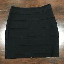 Paige Mini Bodycon Skirt Size Large Full Zip Back Black Stretch