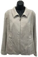 NWT Christopher & Banks Narrow Corduroy Jacket Sz L Large Tan Zip Up MSRP $50